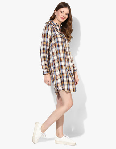 Shirt Dress With Contrast Zipper