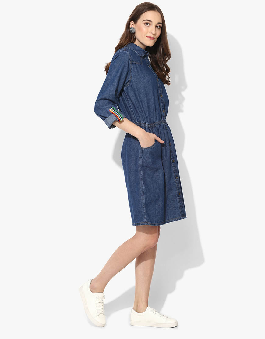 Shirt Dress With Elasticated Waist And Roll Up Sleeves