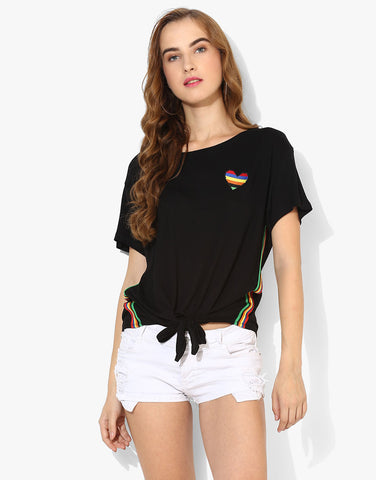 Short Sleeve Tie-Up Tshirt With Rainbow Detail