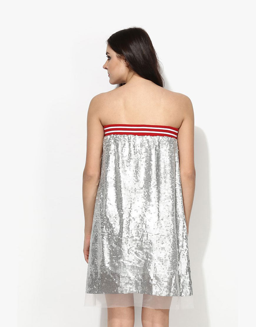 bc15ab3c47 Silver Sequin Net Tube Dress - Love Genration