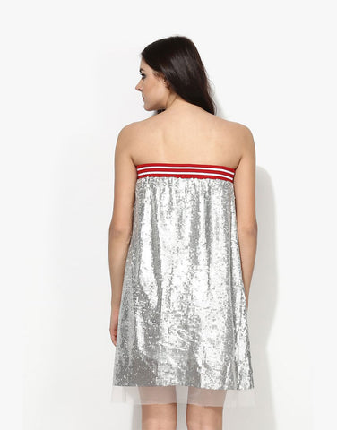 Silver Sequin Net Tube Dress