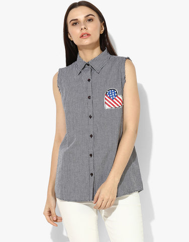 Sleeveless Gingham Shirt With Print