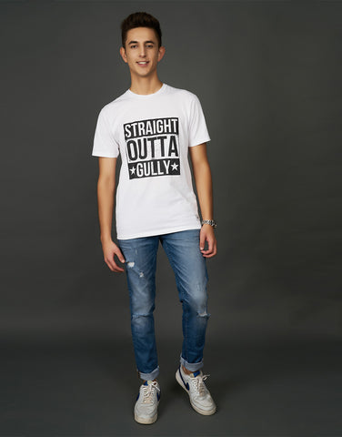 Straight outta Gully Print White T-shirt