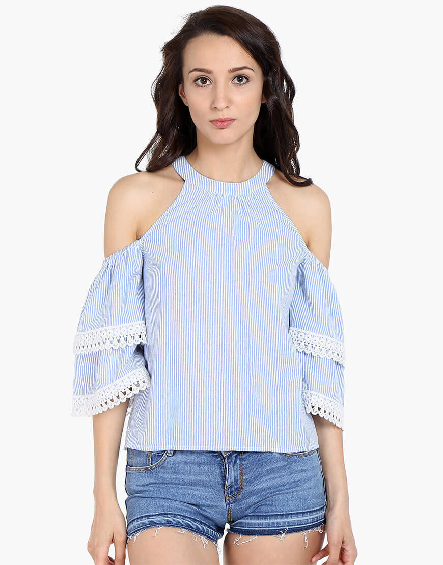 Stripe Cotton Cold Shoulder Top