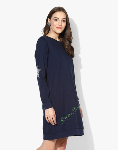 Sweatshirt Dress With Elbow Sequin Stars