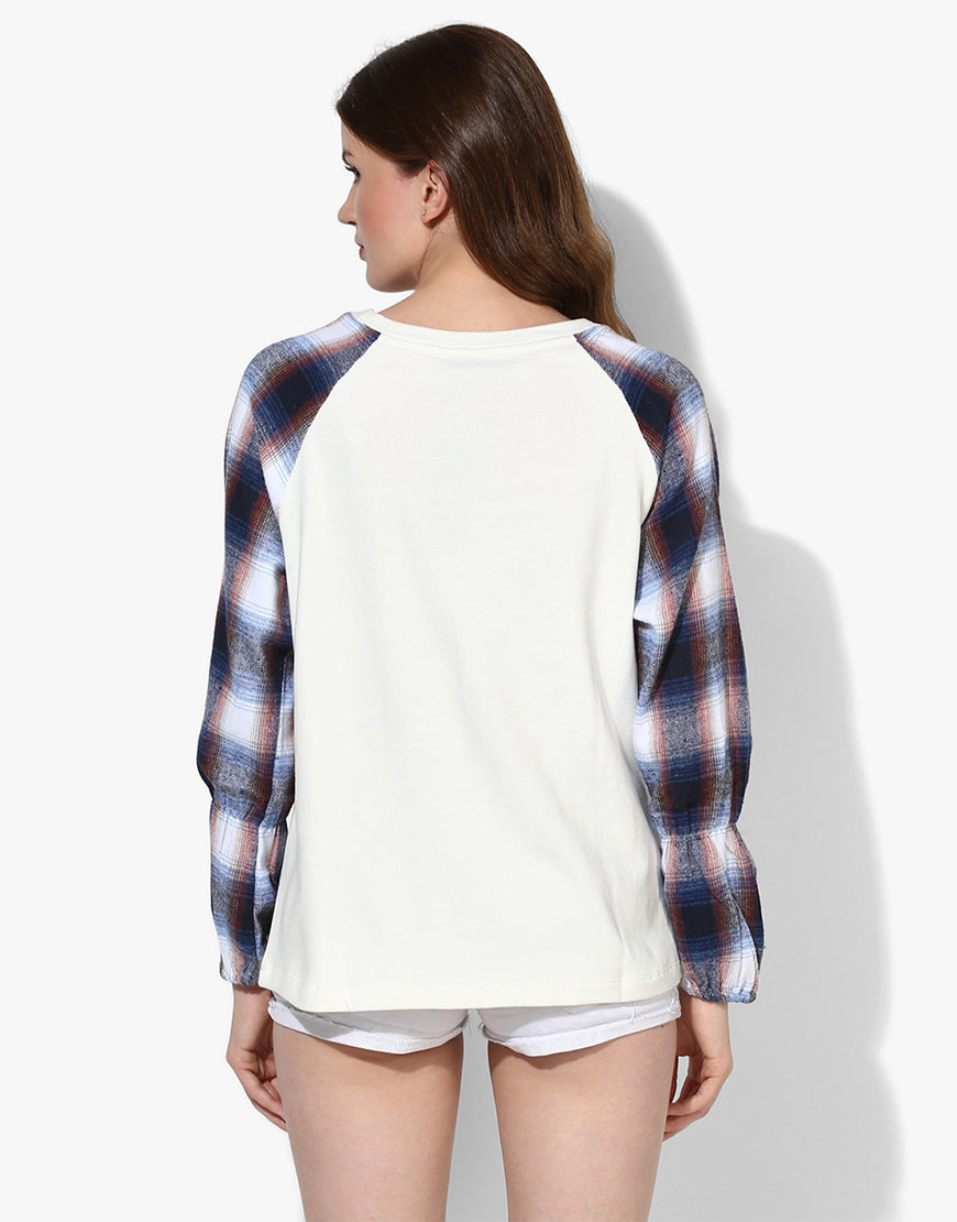 Sweatshirt With Checkered Sleeves