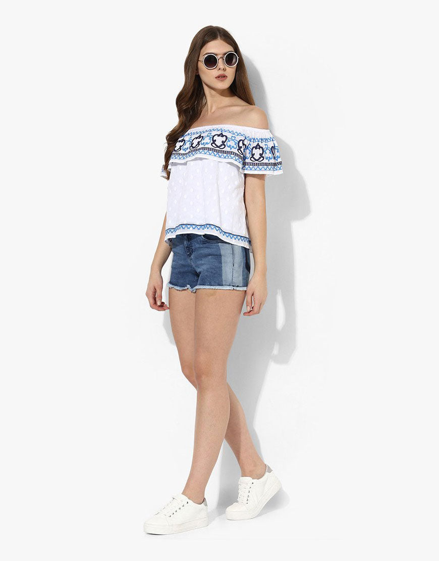 White Cotton Dobby Embroidered Off-Shoulder Top