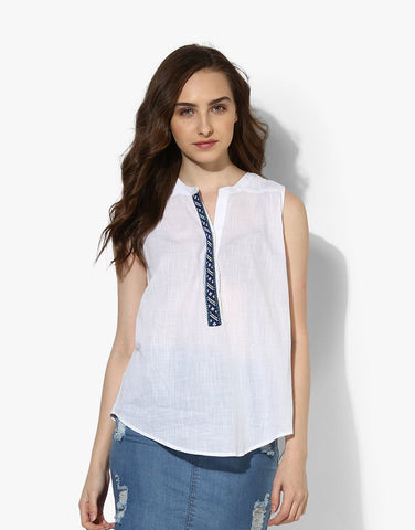 White Cotton Dobby Sleeveless Top