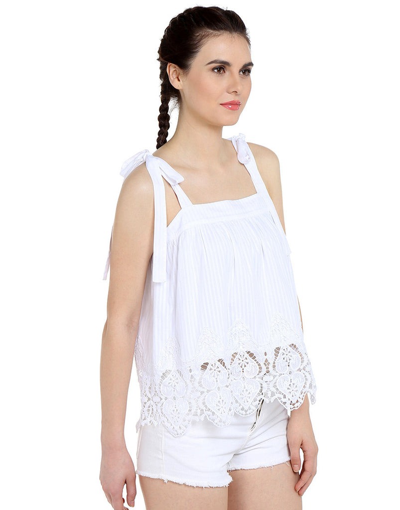 White Cotton Dobby Tie-Up Lace Top