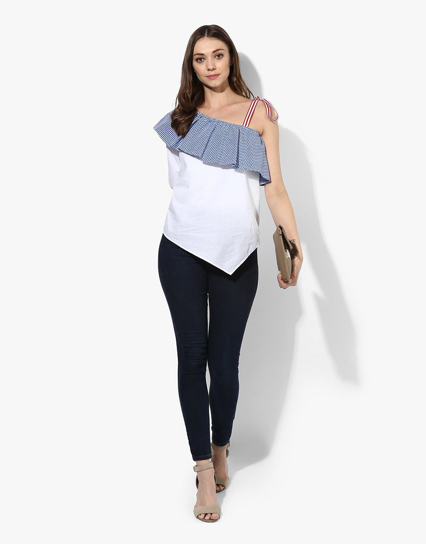 White Cotton Poplin One Shoulder Top With Tie Up
