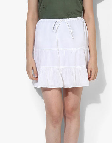 White Cotton Poplin Skirt