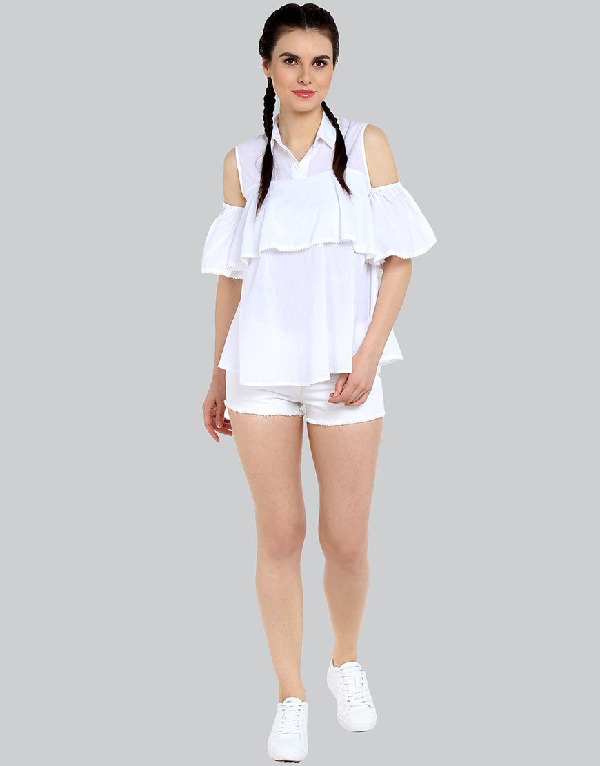 aae15bd73c1aa3 White Cotton Ruffle Shirt Style Top - Love Genration