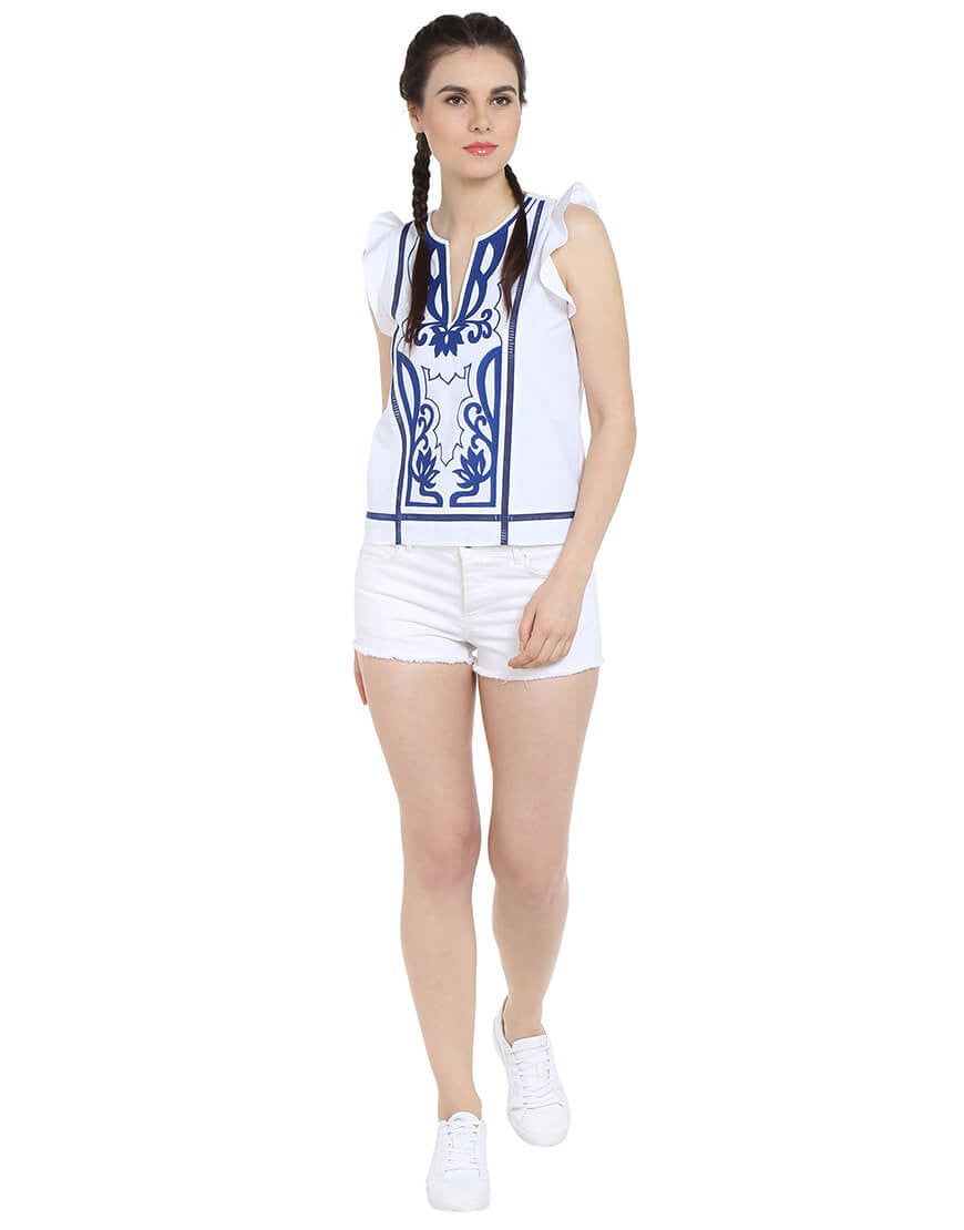 White Embroidered Cotton Sleeveless Top