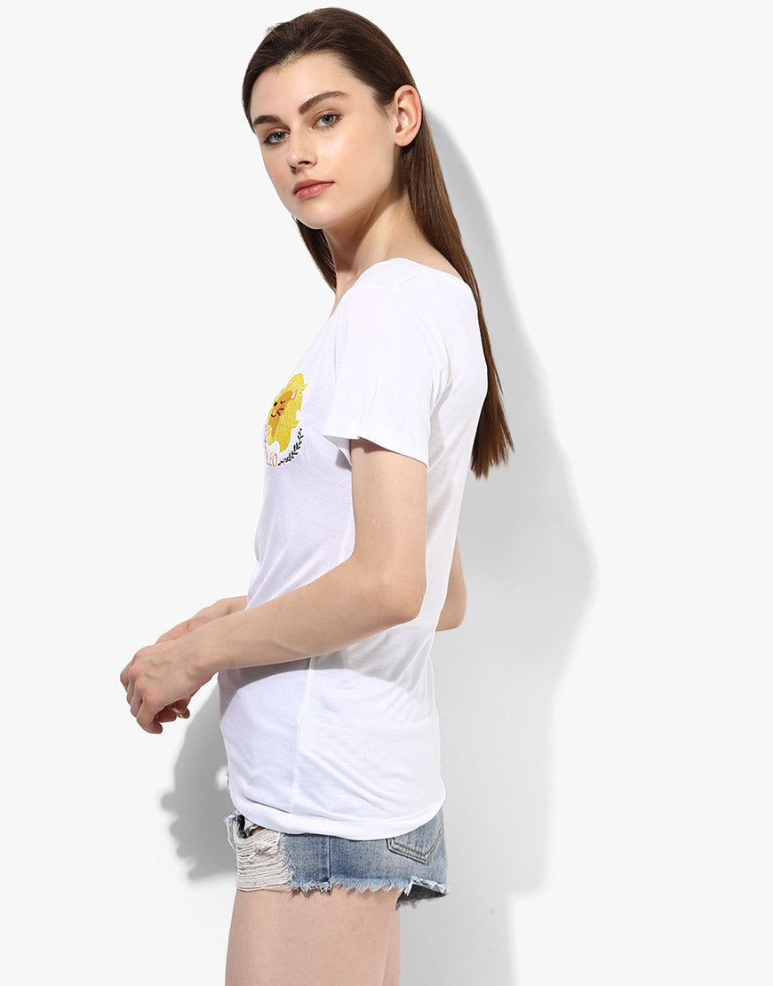 White Leo Zodiac Sign Tee