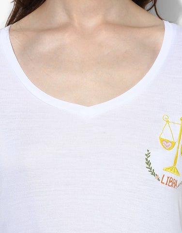 White Libra Zodiac Sign Tee