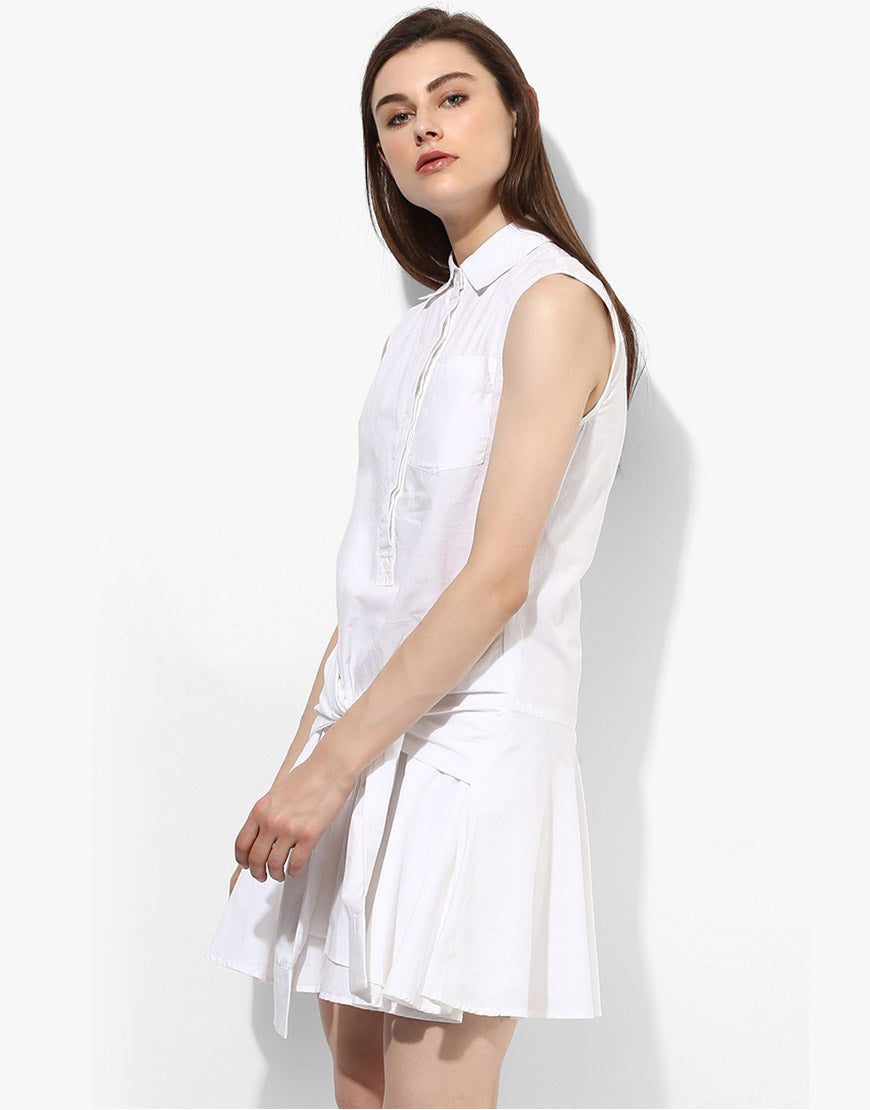 White Shirt Dress With Tie Up