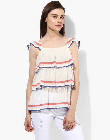 White Sleeveless Frill Top
