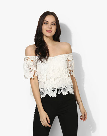 White Viscose Jersey Off Shoulder Top