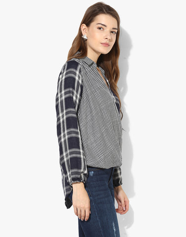 Wrap Check Shirt With Hi-Low Hemlines