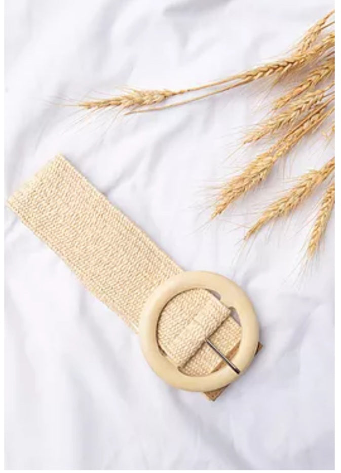 Stretch Belt ~ Cream (Large Round Buckle)