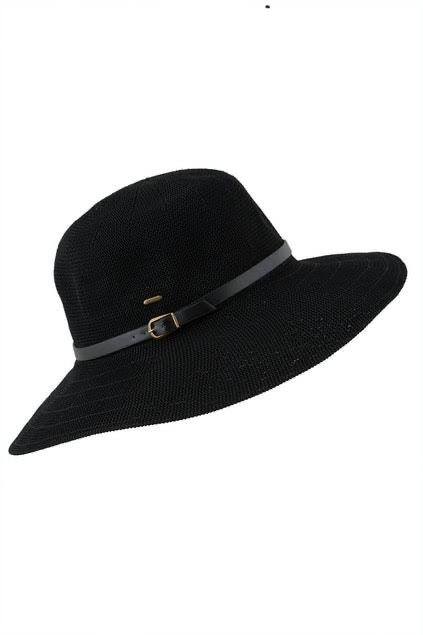 Ladies Wide Brim Hat ~ Leslie (black)