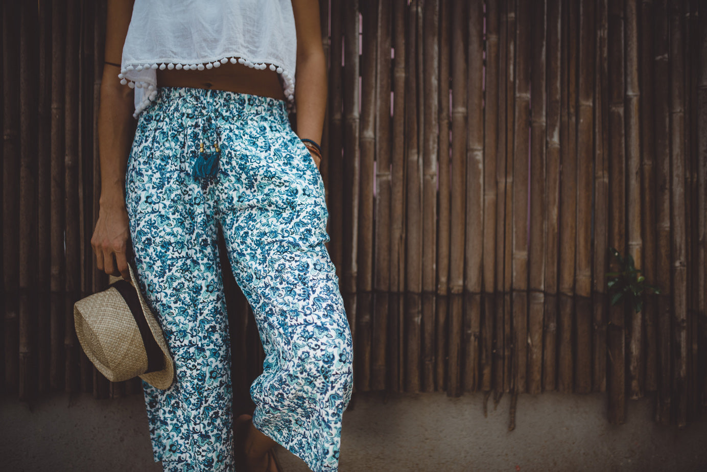 Shop Blue Midi Pants | Aanya Resortwear