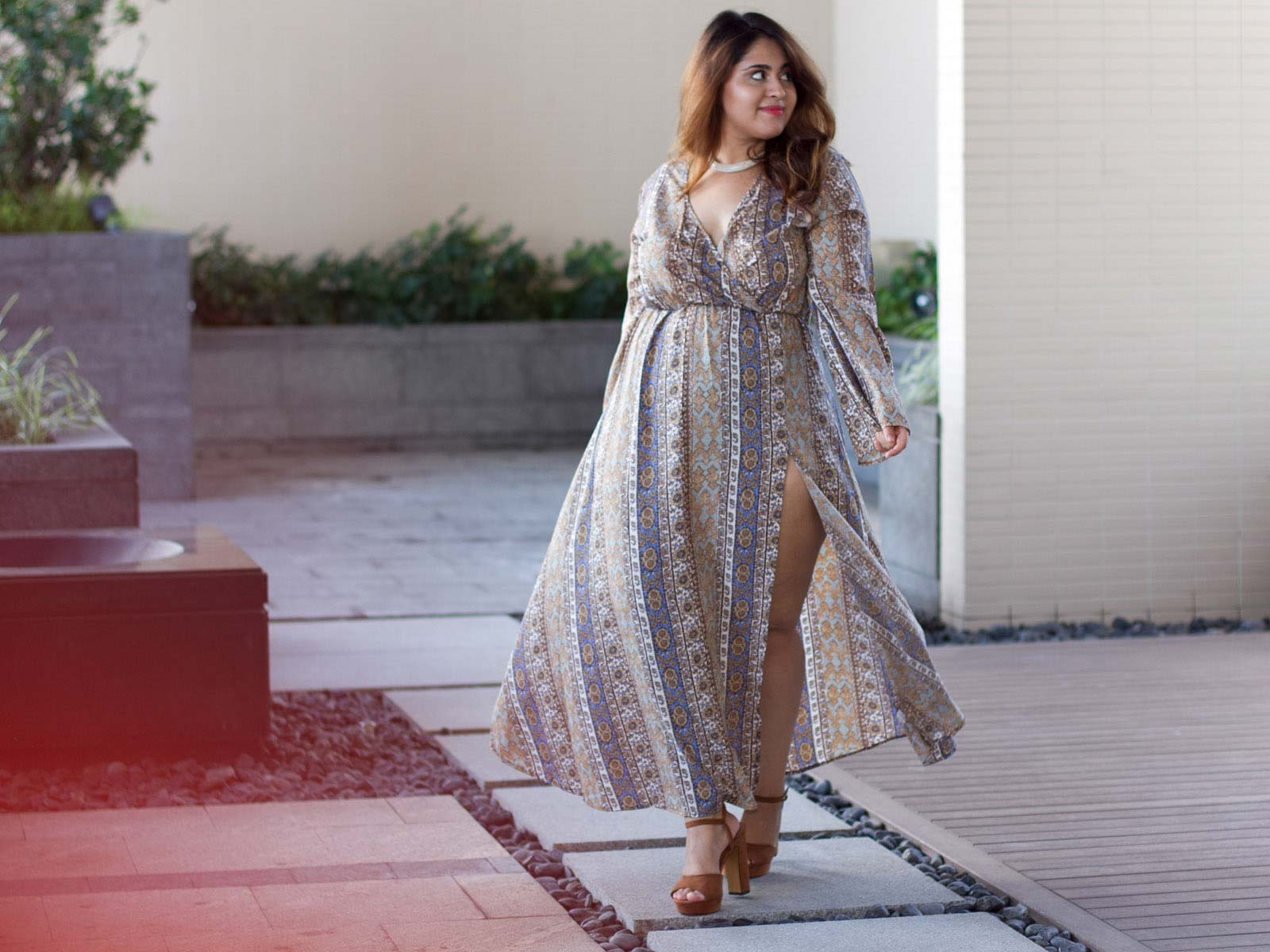 #AanyaGirl, Aashna Bhagwani in our printed maxi long dress.