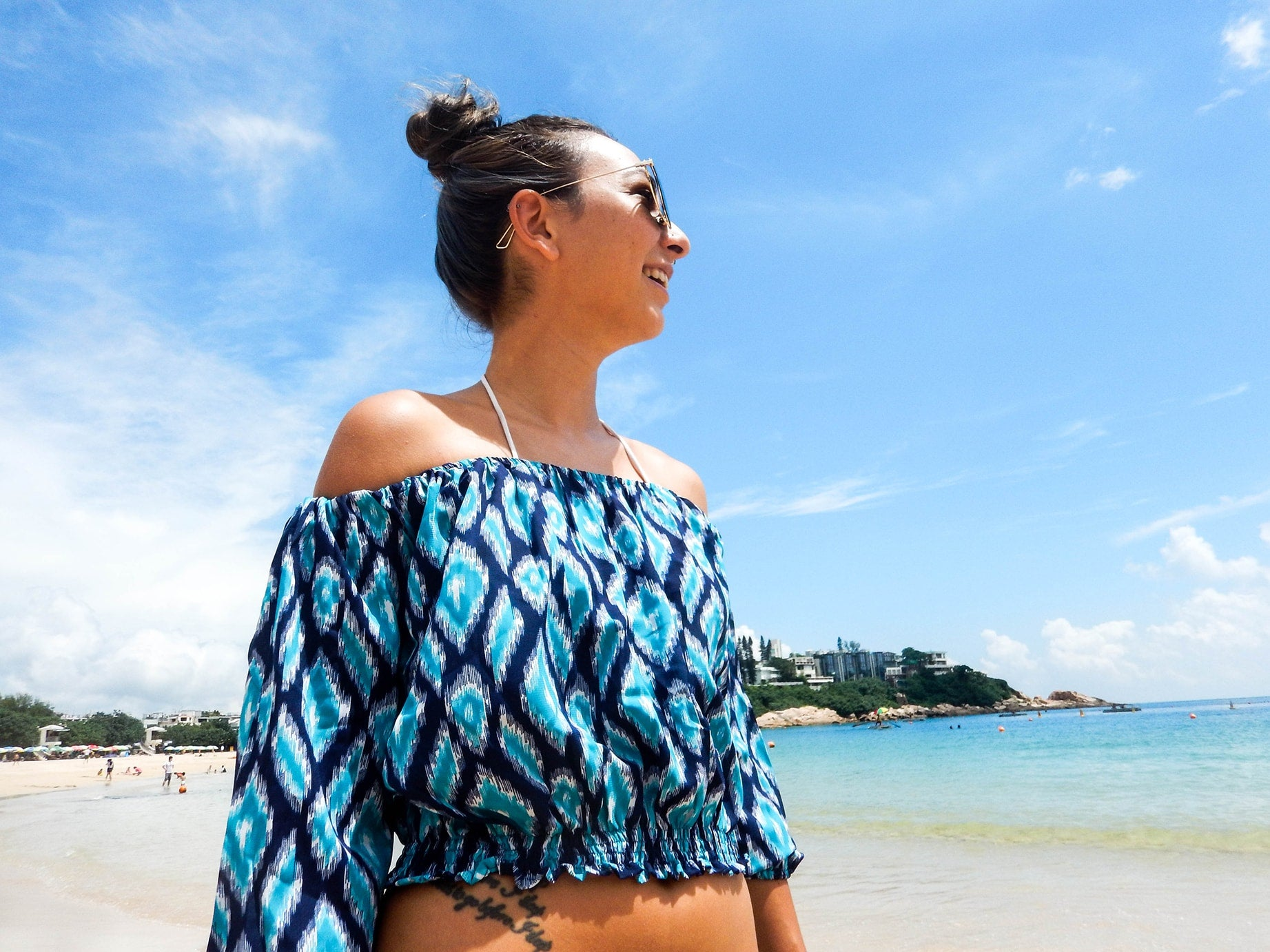 Blue Ikat Off Shoulder Top, Bohemian Resortwear - Aanya Hong Kong
