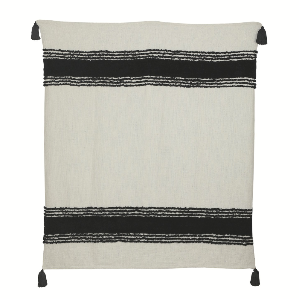 Black & White Cotton Fringe Throw