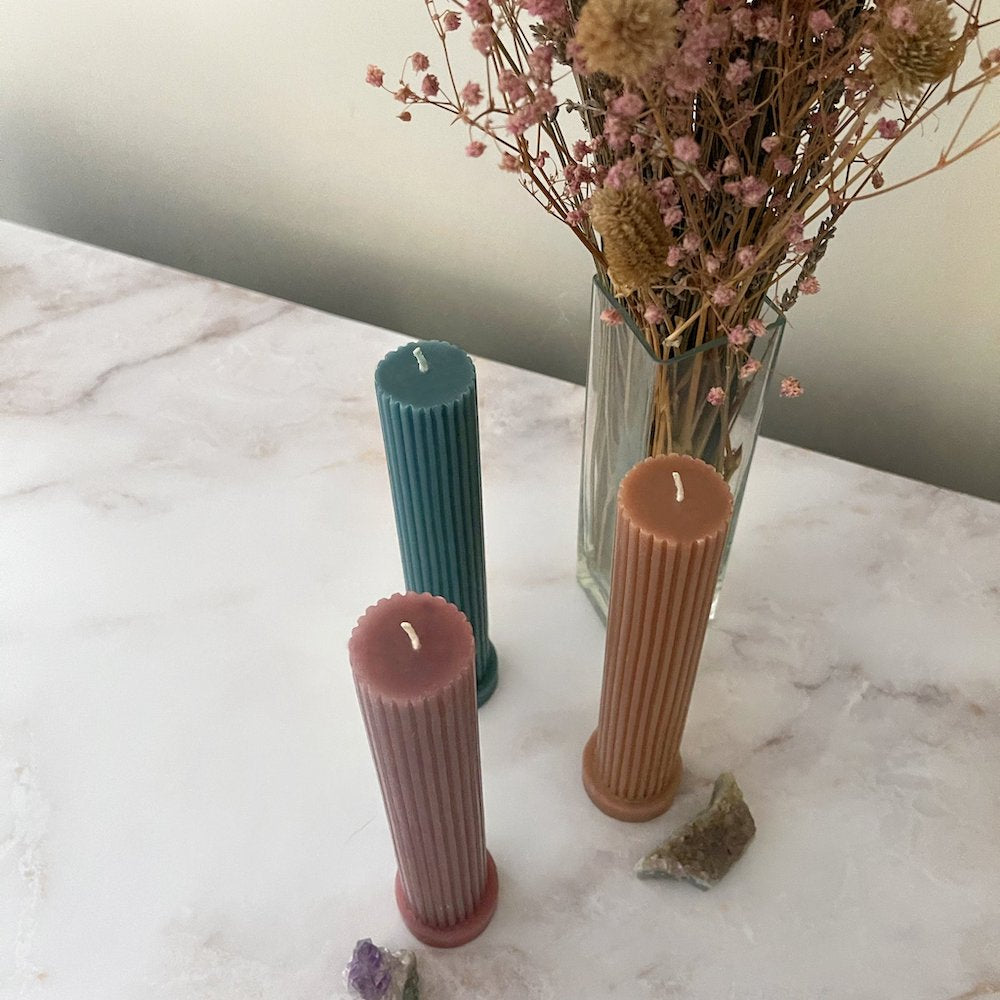 Ridged Pillar Candlesticks