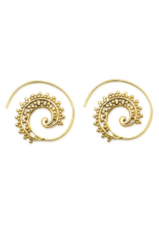 Peacock Feather's Spiral Earrings | Rose Gold - Big