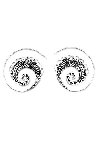 Bohemian silver handmade spiral earrings accessory fashion sale - Aanya Hong Kong