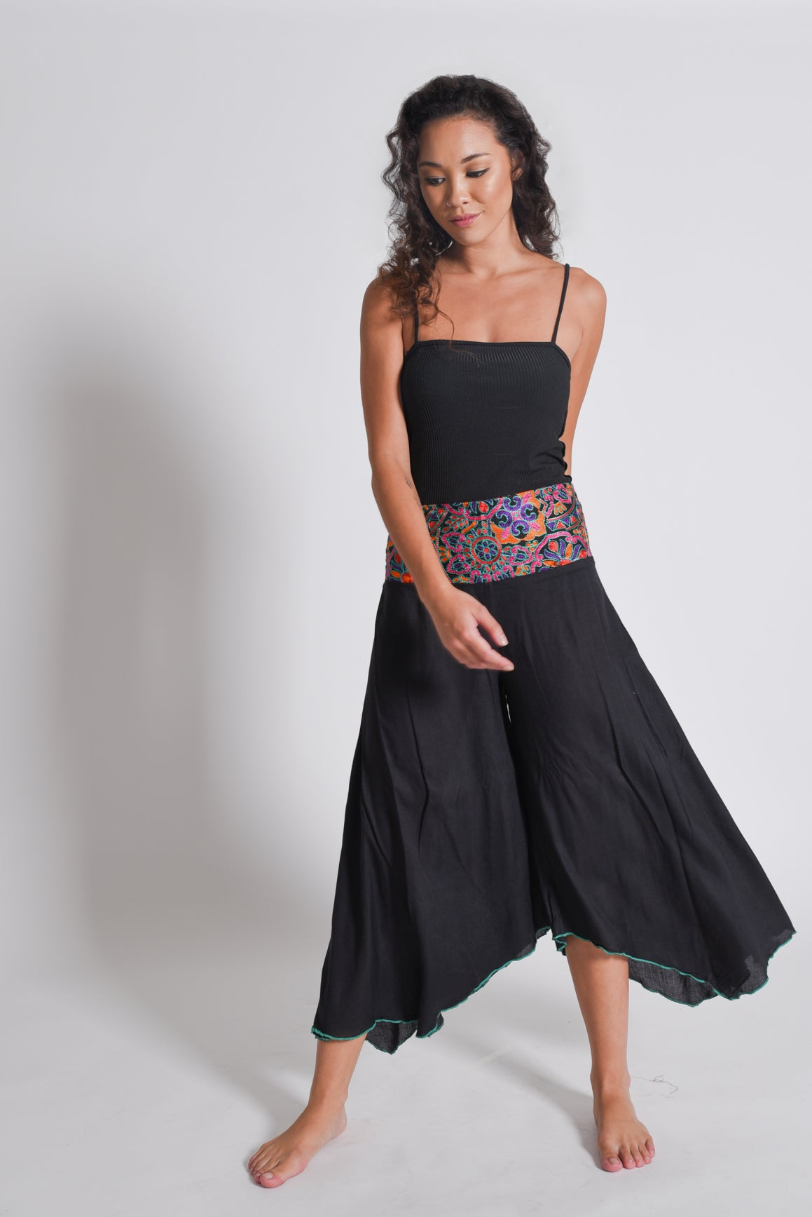 Shop Women's Black Embroidery Pants | Aanya