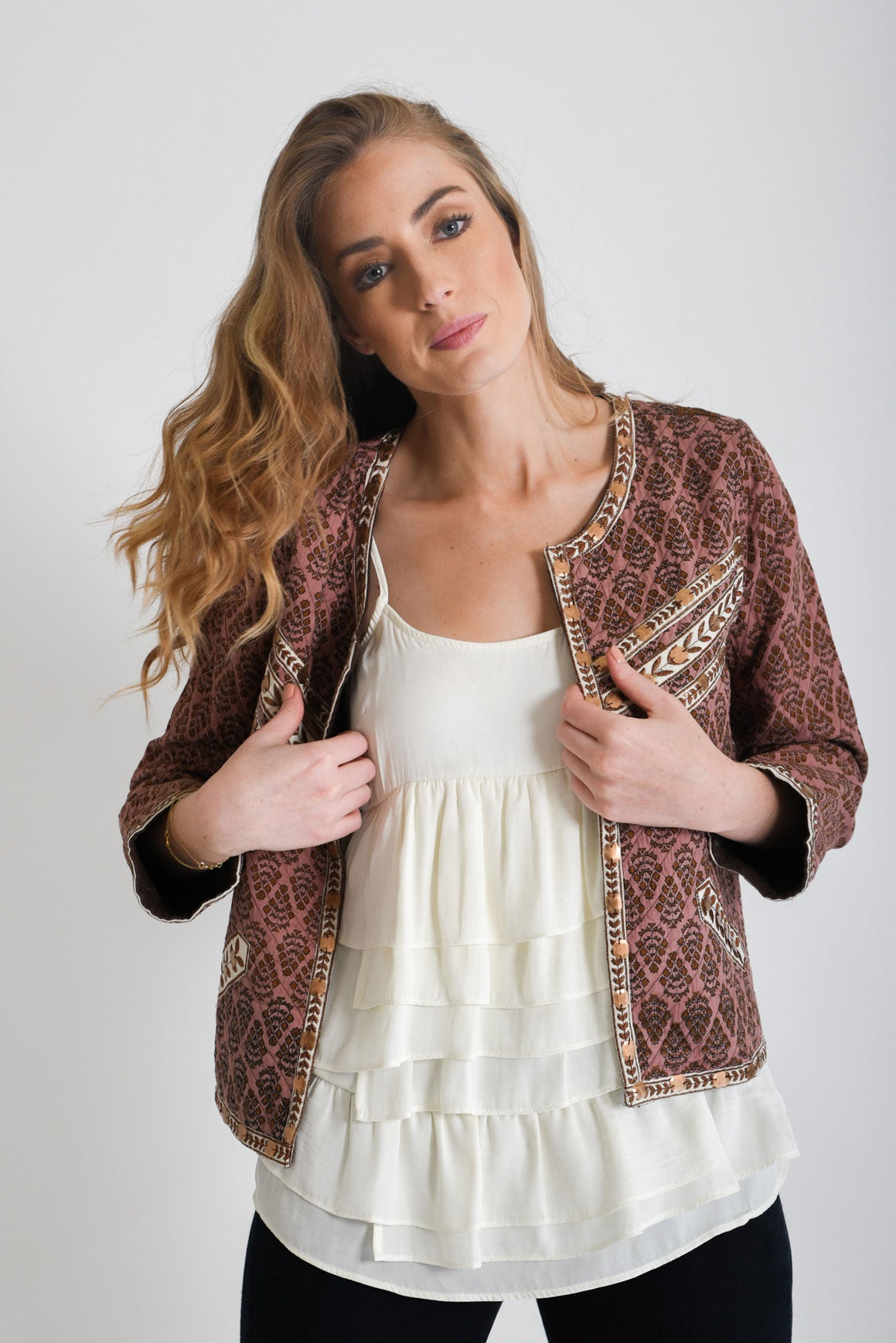 Shop Mauve Embroidered Jacket | Aanya