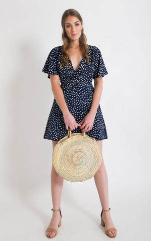 Shop Blue Polkadot Wrap Dress | Aanya