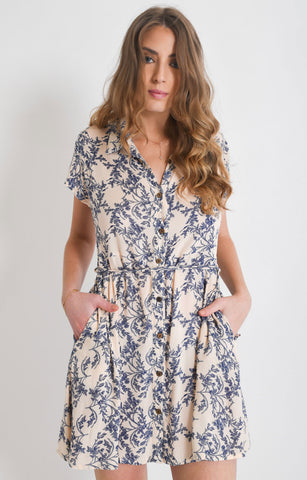 Shop Cream Floral Shirt Dress | Aanya