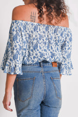 Shop Women's Off Shoulder Top Blue | Aanya