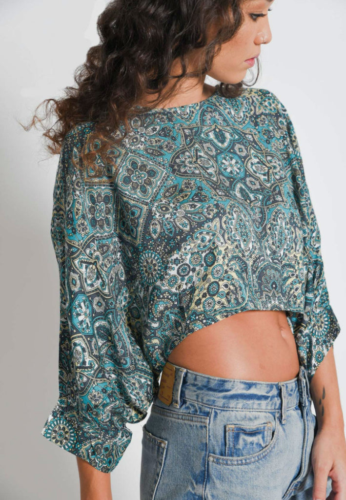 Raine Sleeved Crop Top | Mandala