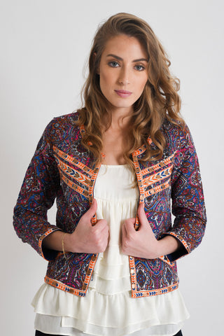 Shop Purple Embroidered Jacket | Aanya