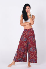 Elan Slitted Trousers | Burgundy