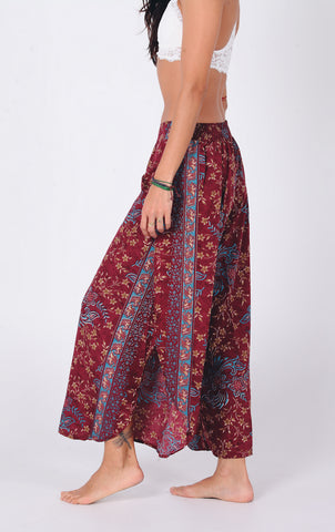 Aanya Bohemian Women Red Slitted Trousers