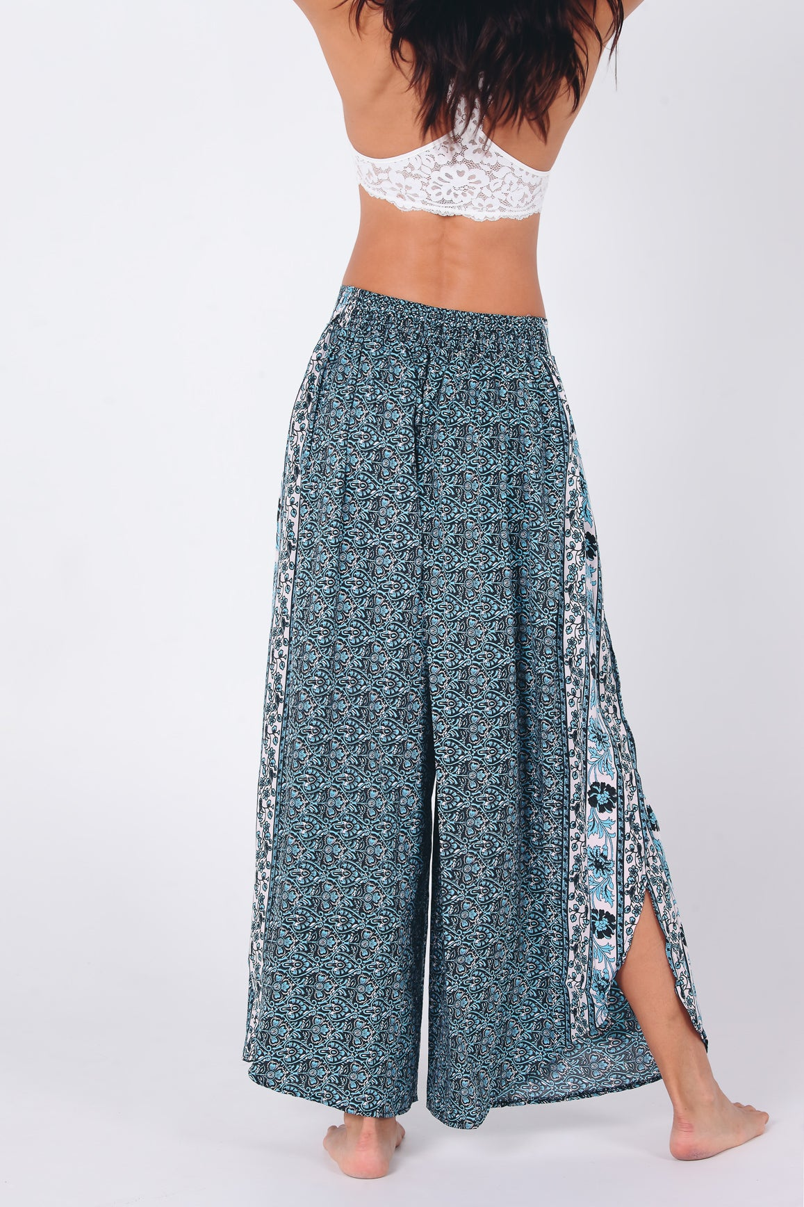 Elan Slitted Trousers | Blue Tulips