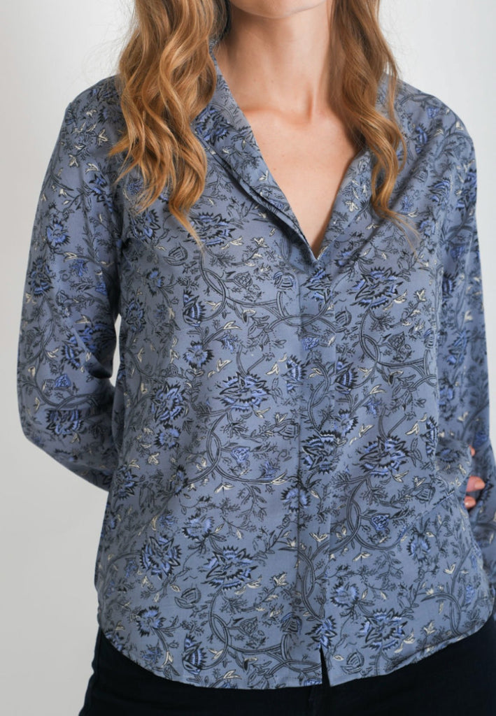 Aanya Hong Kong Women's Bohemian Blue Floral Printed Long Sleeve Shirt