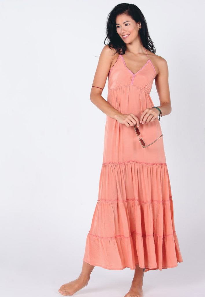 Aanya Bohemian Women Coral Halter Maxi Dress