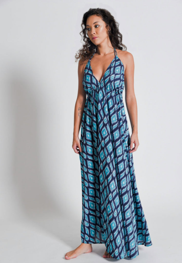 Aanya Hong Kong Women's Bohemian Ikat Blue Halter Backless Maxi Dress