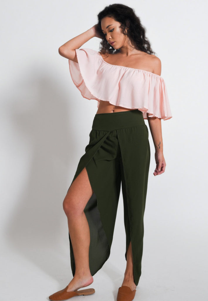 Aanya Hong Kong Women's Bohemian Olive Green Slit Pants