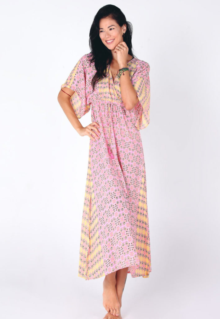 Aanya Hong Kong Women's Bohemian Pink Yellow V Neck Paisley Maxi Dress