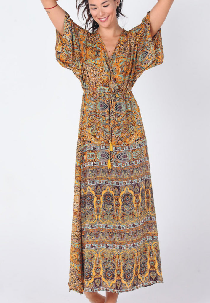 Aanya Hong Kong Women's Bohemian Yellow Paisley V Neck Maxi Dress