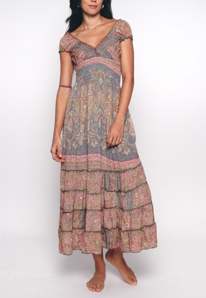 Aanya Hong Kong Women's Bohemian Grey Pink Paisley Off Shoulder Maxi Dress