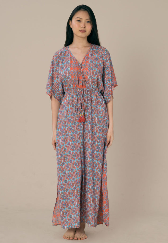 Aanya Hong Kong Women's Bohemian Blue Pink Maxi Dress